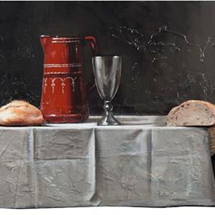 Pão, vinho e cebola